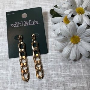 """WILD FABLE Gold Tone Chain Link Earrings 3"""" New"""